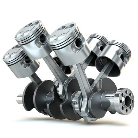 V6 エンジン ピストンの 3 D イメージ