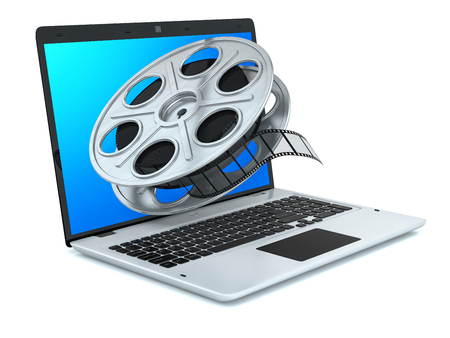video cassette tape: Film reel and laptop  Concept