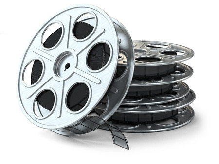 movie clapper: Group of film reels isolated on white background
