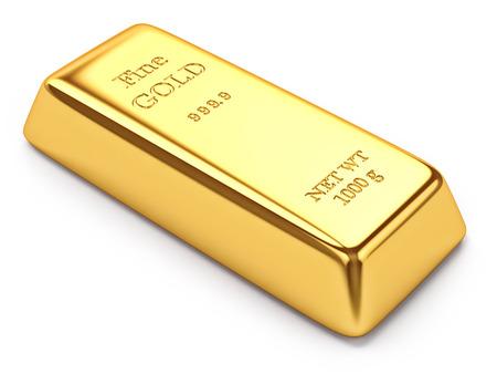 Lingotto d'oro isolato su sfondo bianco