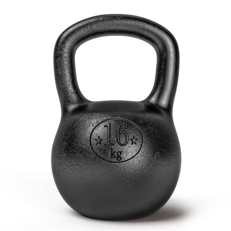 Black sporting kettlebell isolated on white background photo