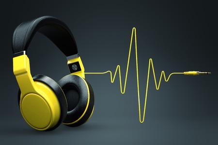 auriculares dj: Onda de impulso concepto auriculares Foto de archivo