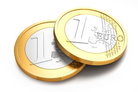 coin silver: Stack of Euro coins isolated on white background