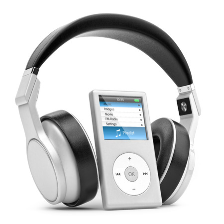 portable audio: Modern musical multimedia player and silver headphones   Stock Photo