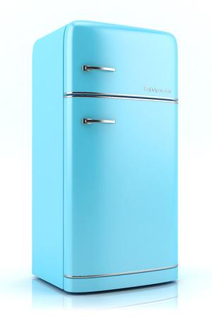 Blauwe retro ijskast op een witte achtergrond