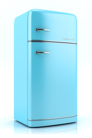 Blue retro refrigerator isolated on white background photo