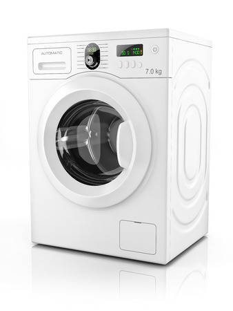 Modern washing machine isolated on white background  3D photo