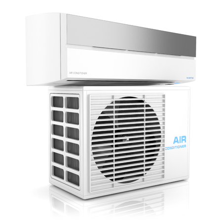 swelter: Modern air conditioner isolated on white background  3D