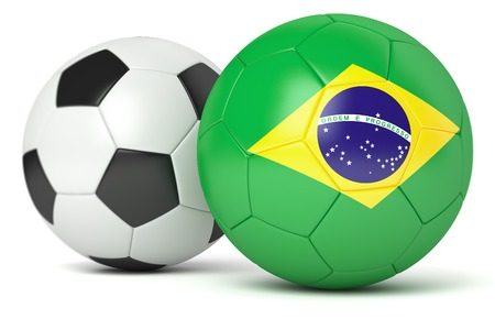 leather goods: Classic and Brazilian soccer balls isolated on white background Stock Photo