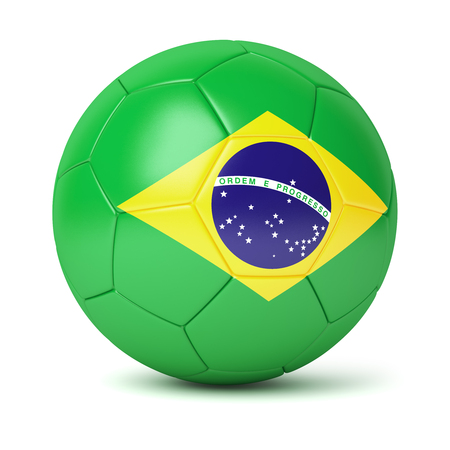 leather goods: Brazilian soccer ball isolated on white background