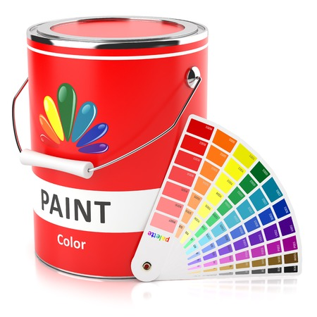 Can with paint and samples palette isolated on white background photo