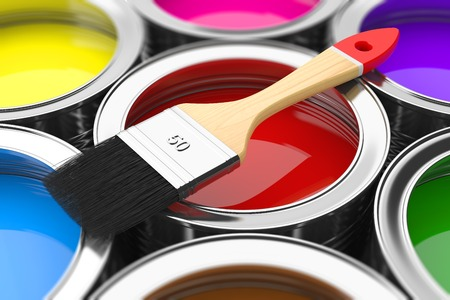 house painter: Paintbrush on cans with color prints  Concept Stock Photo