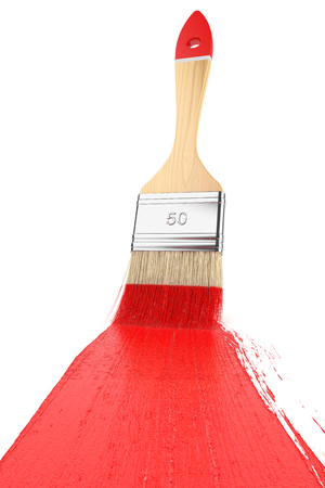 paint tin: Strip paint brush painted on white background Stock Photo