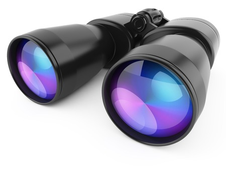 discover: Black binoculars isolated on white background Stock Photo