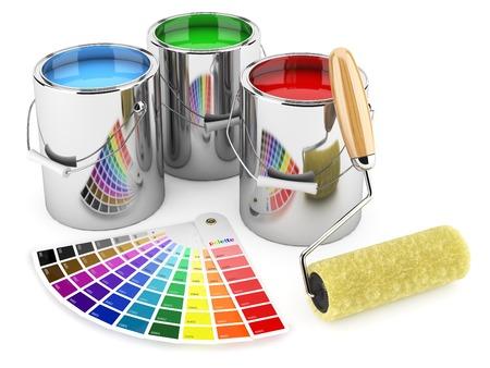 Groep van can verf, roller penseel en palet van kleuren