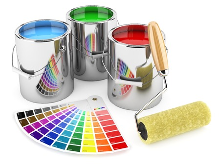 Group of can paints, roller brush and palette of colors Stok Fotoğraf