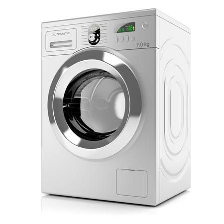 Moderní stříbrný pračka na bílém pozadí