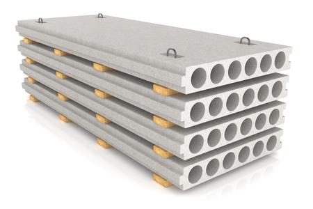 concrete blocks: Group of concrete panels isolated on white background Stock Photo