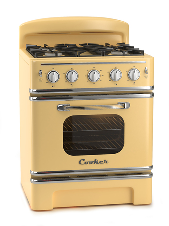 standard steel: Retro stove isolated on white background