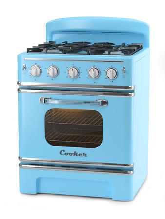 blue white kitchen: Blue retro stove isolated on white background Stock Photo