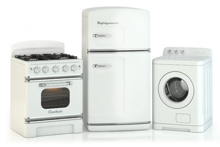Conjunto de electrodomésticos en casa retro aislados sobre fondo blanco