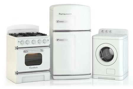 gospodarstwo domowe: Zestaw urządzeń do domu w stylu retro samodzielnie na białym tle Zdjęcie Seryjne