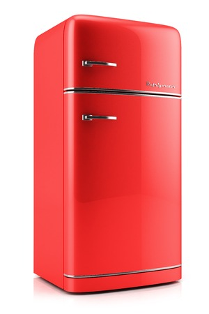 Retro fridge isolated on white bacground