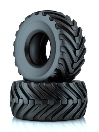 road tractor: Group of tractor tires isolated on white background