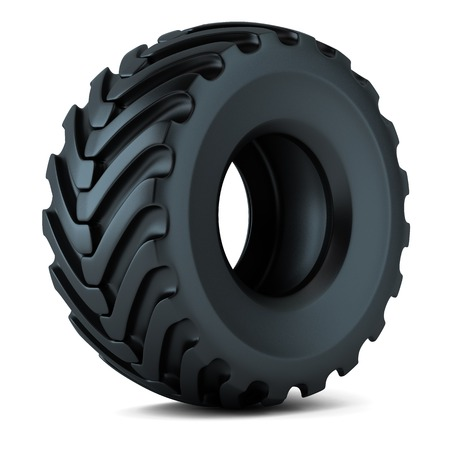 Tractor tire isolated on white background photo