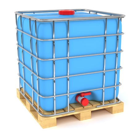 filtering: Water tank cube isolated on white background Stock Photo