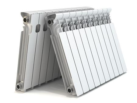 Group of heating radiators isolated on white background photo