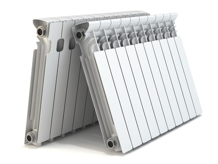 Group of heating radiators isolated on white background