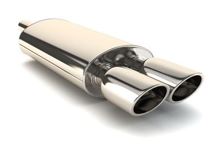 Chrome exhaust pipe isolated on white background