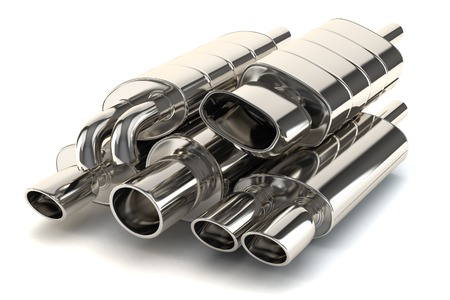 Set of exhaust pipes isolated on white background Stock Photo