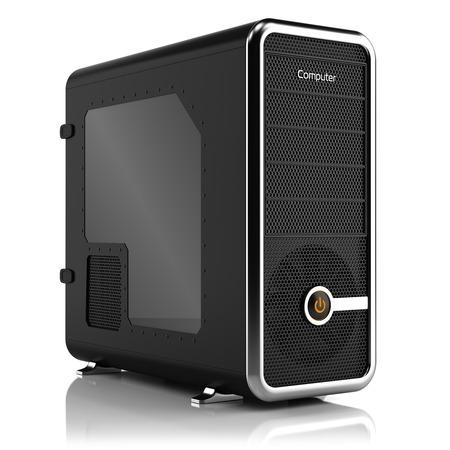 白で隔離コンピューティング タワー ボックス 3 D の背景 写真素材