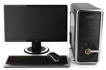 isolated object: Modern home desktop PC isolated on white background