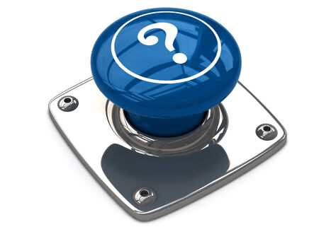 Blue question button concept. 3D image photo