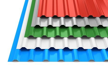 Groep van stalen profiel platen geïsoleerd op een witte achtergrond Stockfoto