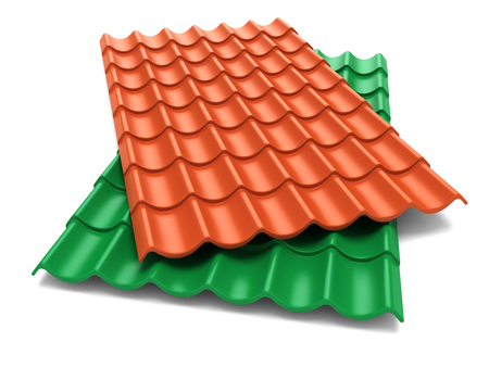 Gordelroos dakplaten isoleren op witte achtergrond Stockfoto