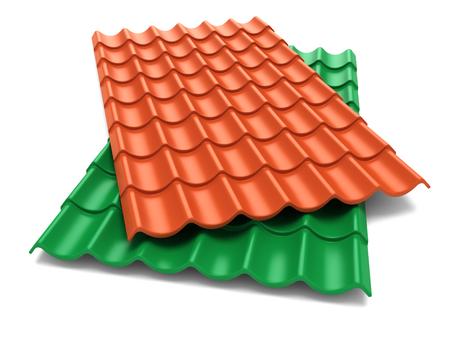 Schindeln Dachplatten auf weißem Hintergrund isolieren Standard-Bild - 32498379