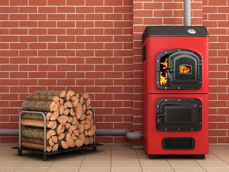 Solid fuel boiler.Boiler room concepte. 3D image