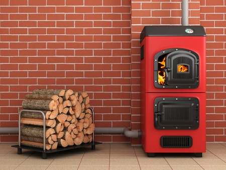 wood burning stove: Solid fuel boiler.Boiler room concepte. 3D image