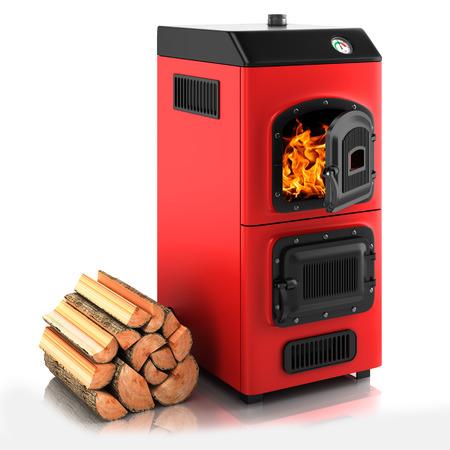 estufa: Caldera de combustibles s�lidos. Aislado en el fondo blanco 3D Foto de archivo