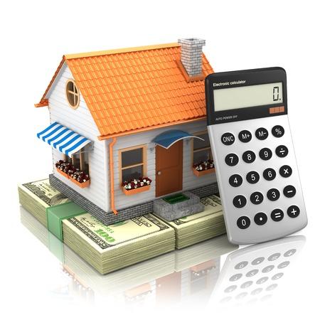 equidad: Concepto de la hipoteca. aislado en el fondo blanco 3d