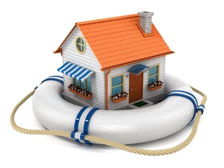 Maison d'assurance concept. Isolé sur fond blanc Banque d'images - 32498401