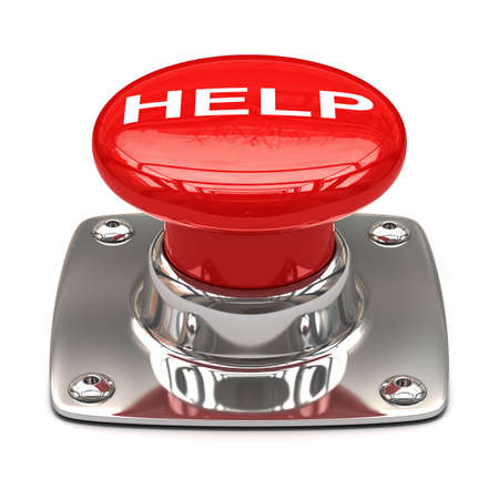 Help button. Isolated on white background 3D photo