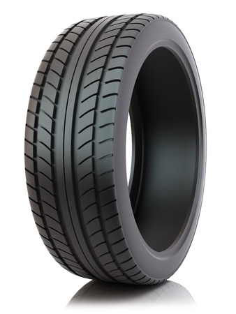 Auto Reifen isoliert auf weißem Hintergrund  Standard-Bild