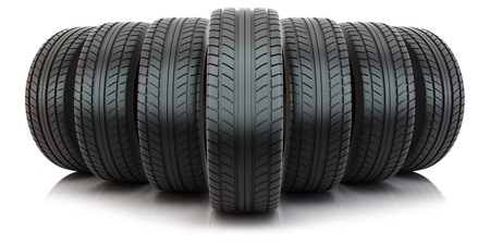 tyre tread: Group of tires isolated on white background