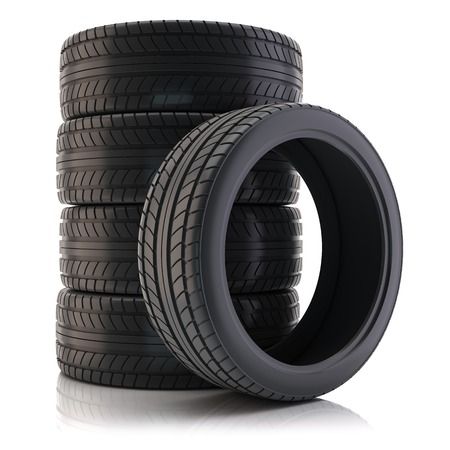 tire fitting: Group of tires isolated on white background