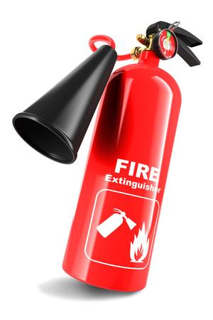 fogatas: Extintor de incendios aislado en el fondo blanco 3d